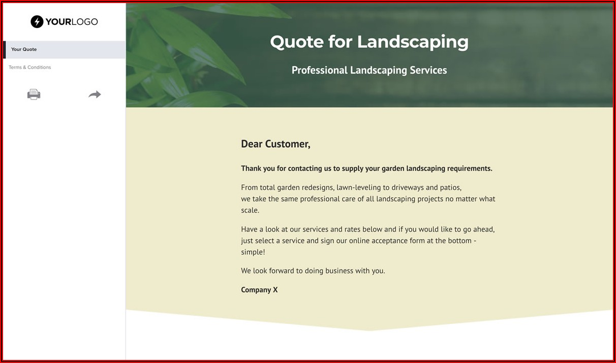 Commercial Landscaping Quote Template