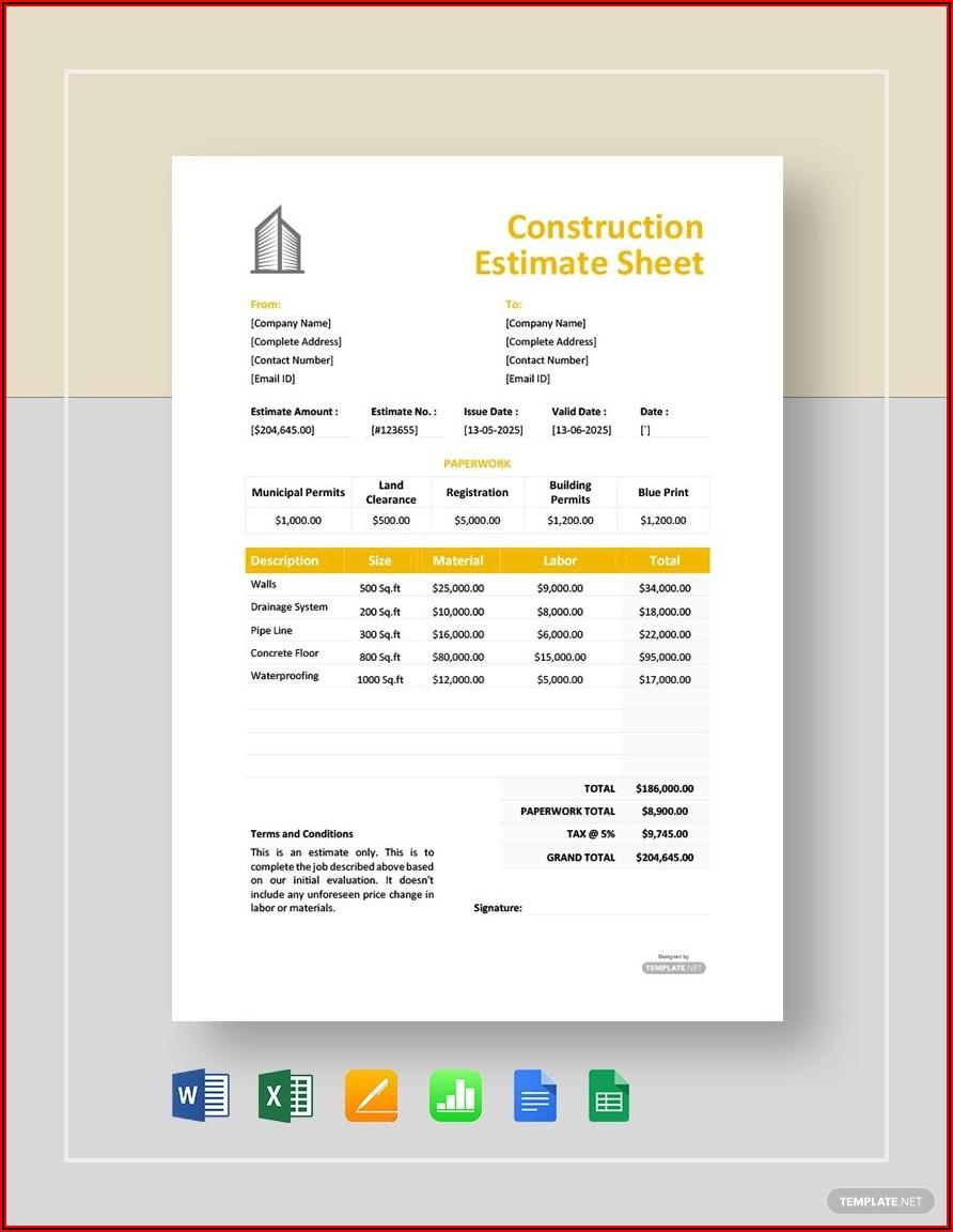 Construction Estimate Template Microsoft Word