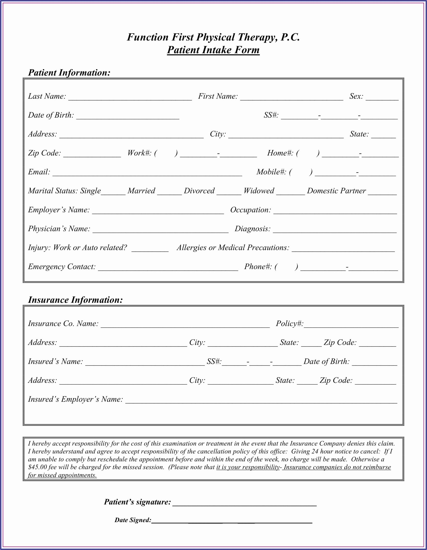 Counselling Intake Form Australia