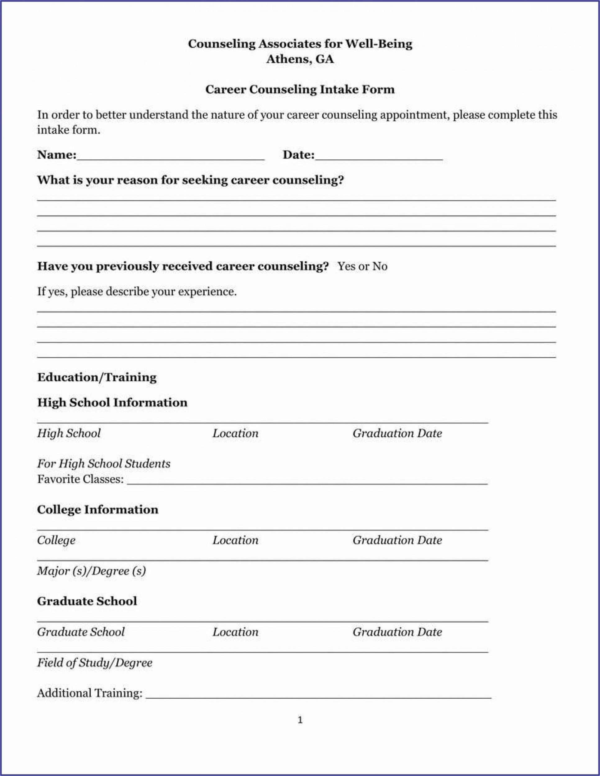 Counselling Intake Form Example