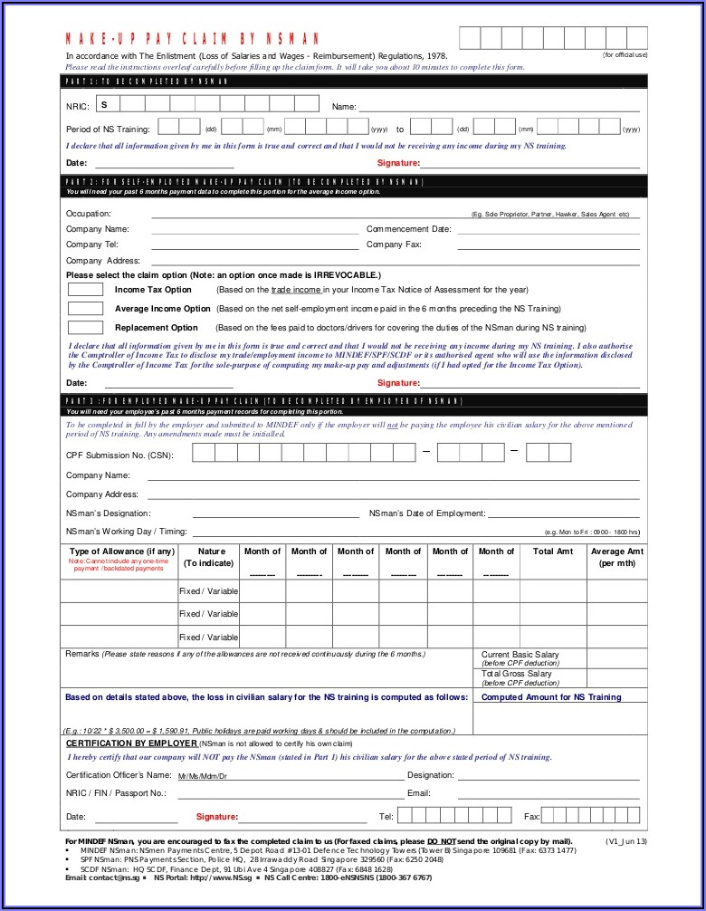 Cpf Contribution Form 91