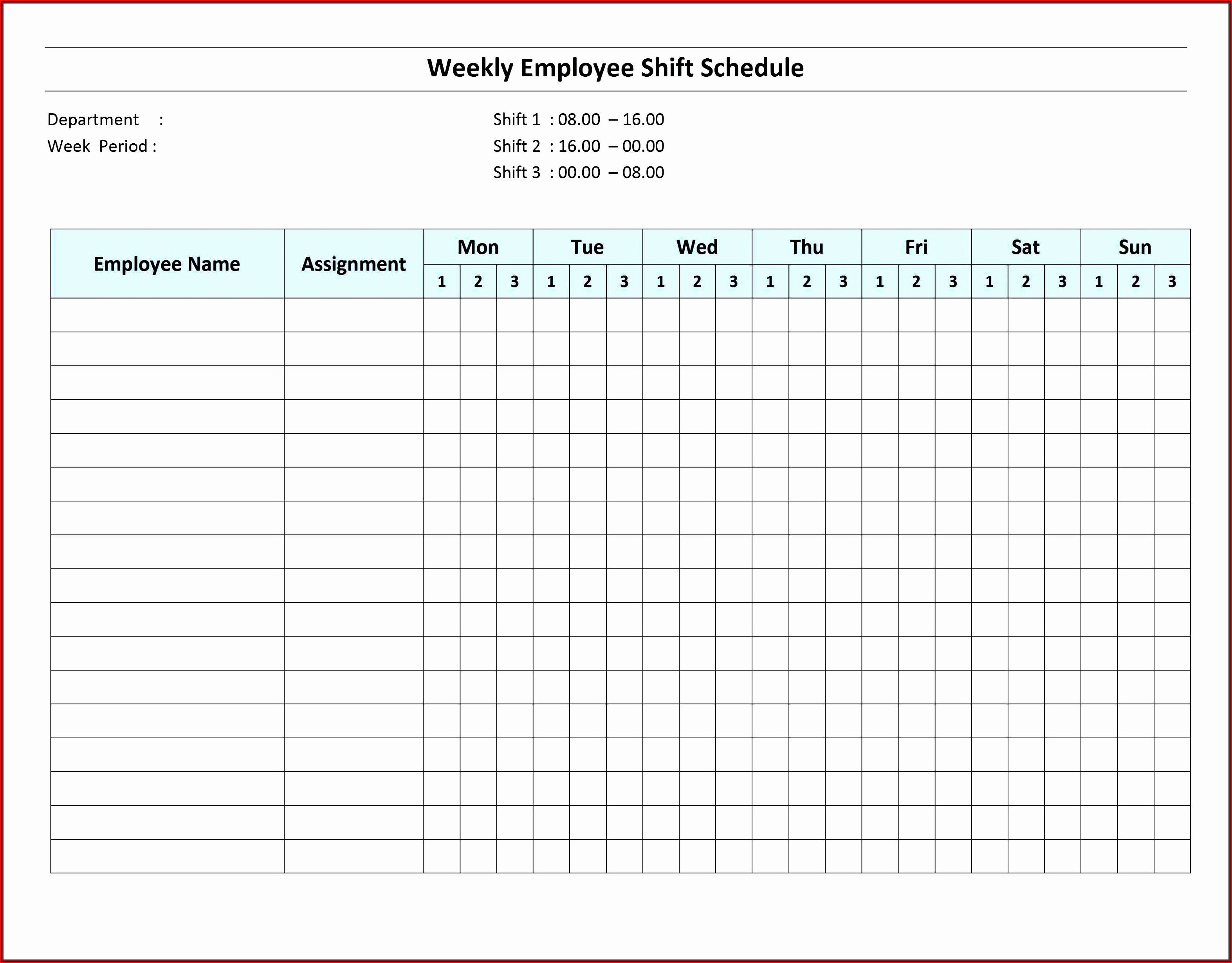Daily Employee Shift Schedule Template