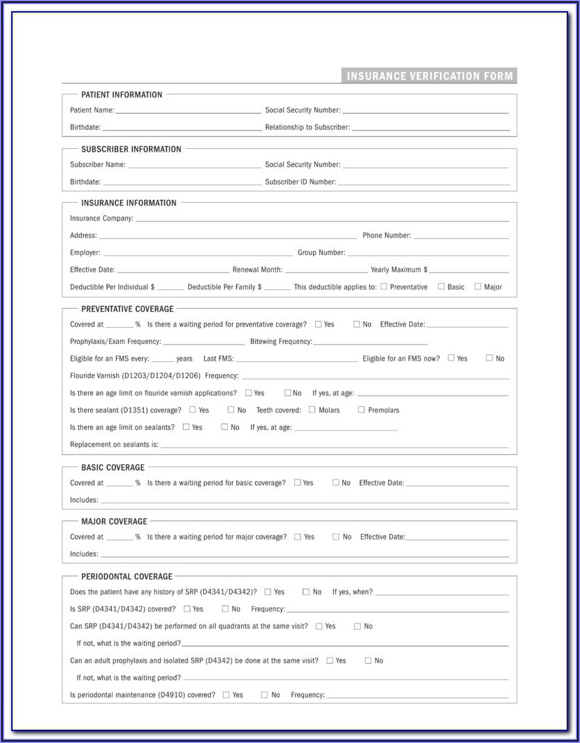Dental Insurance Verification Form Pdf
