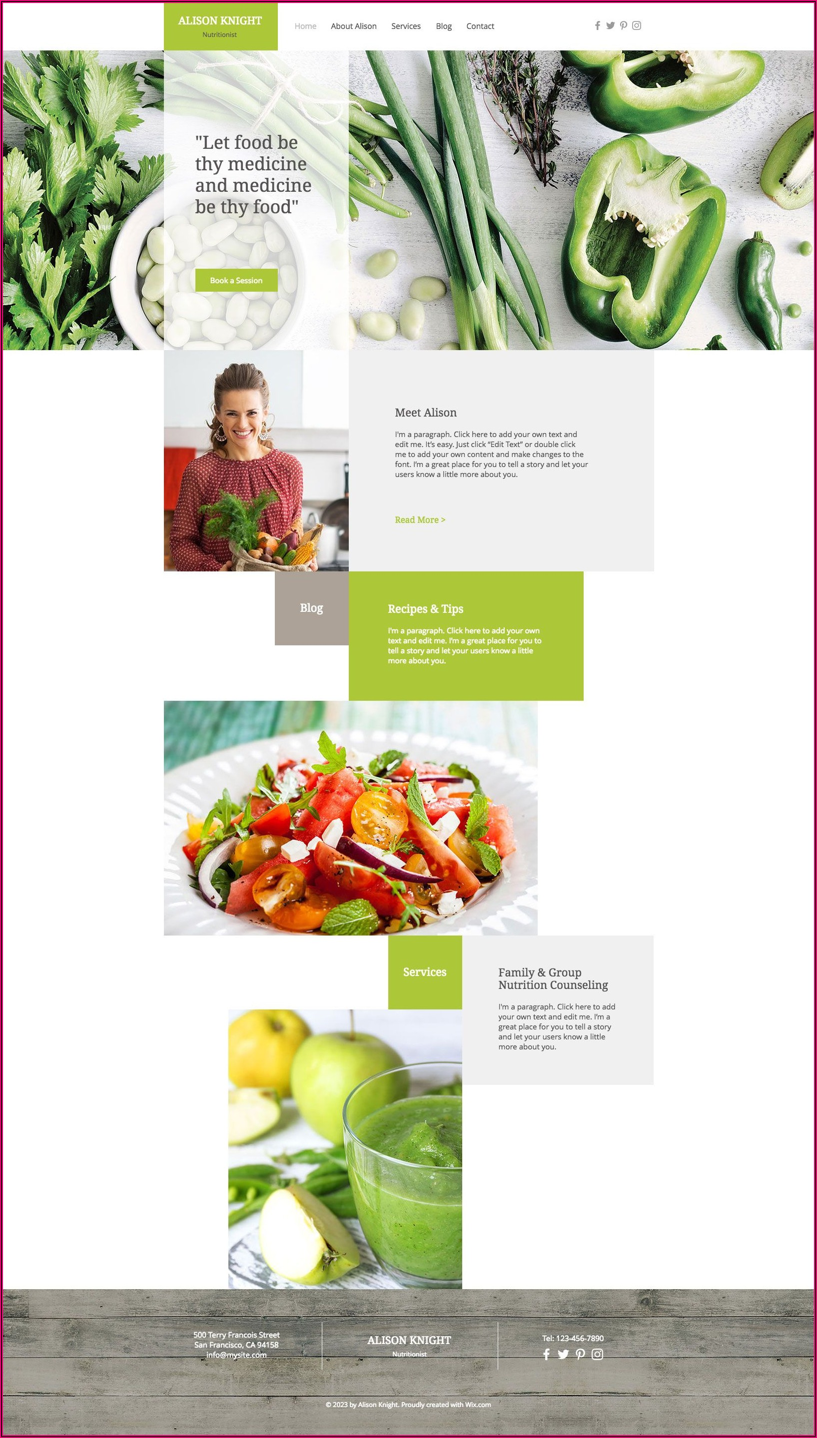 Dietitian Website Free Templates
