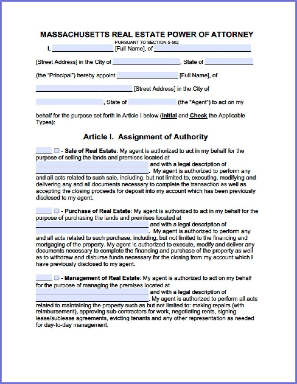 Durable Medical Power Of Attorney Form Massachusetts