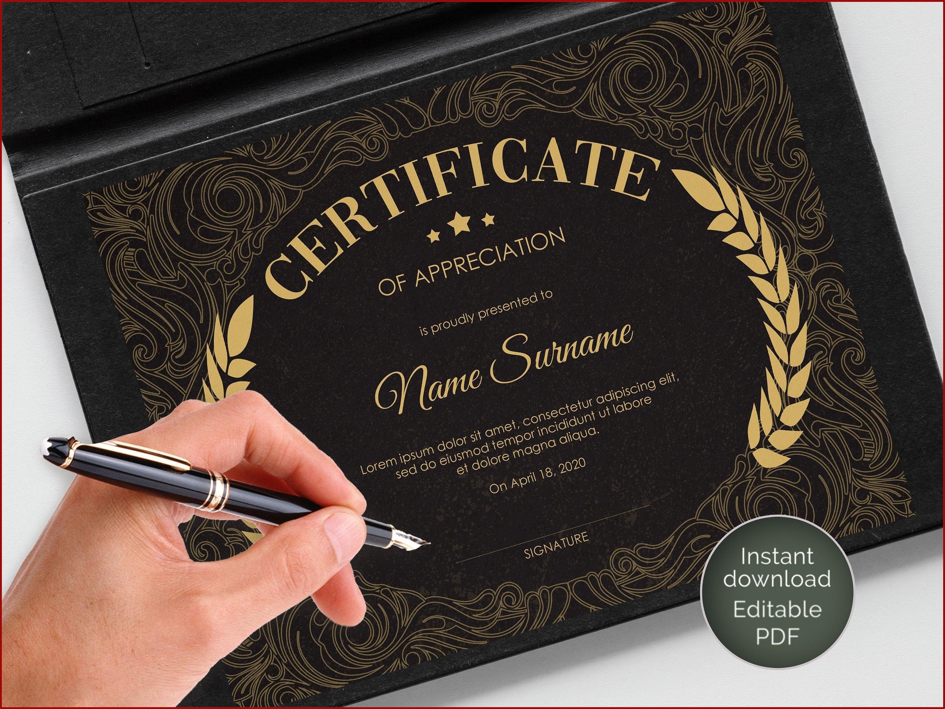 Editable Appreciation Award Templates
