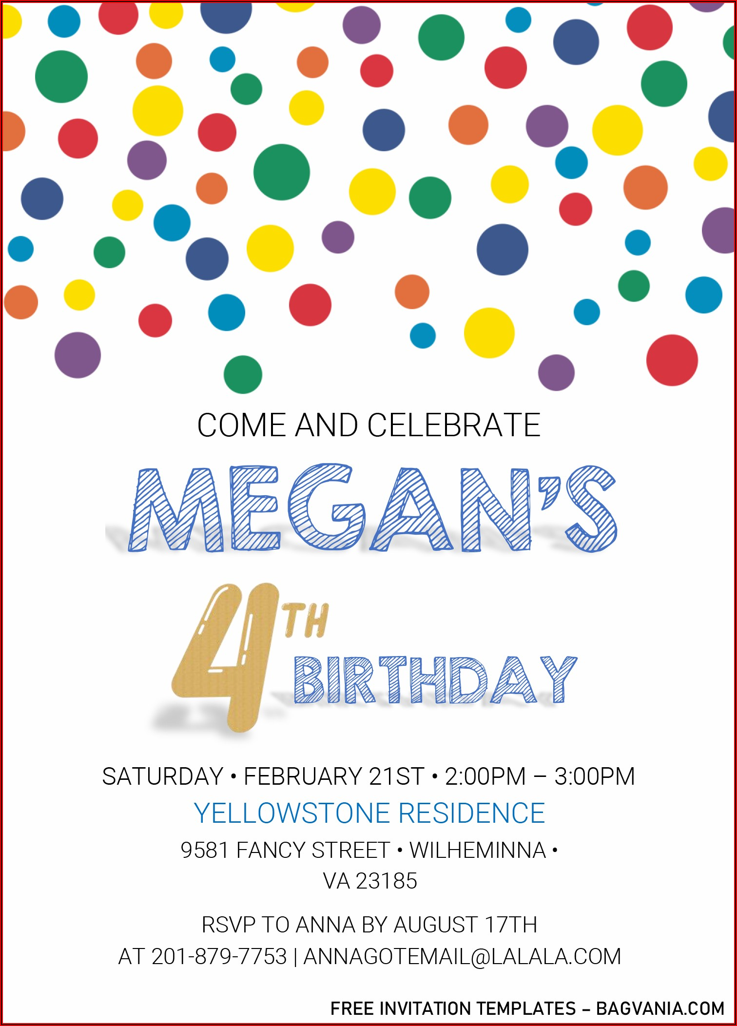 Editable Rainbow Birthday Invitations Templates Free