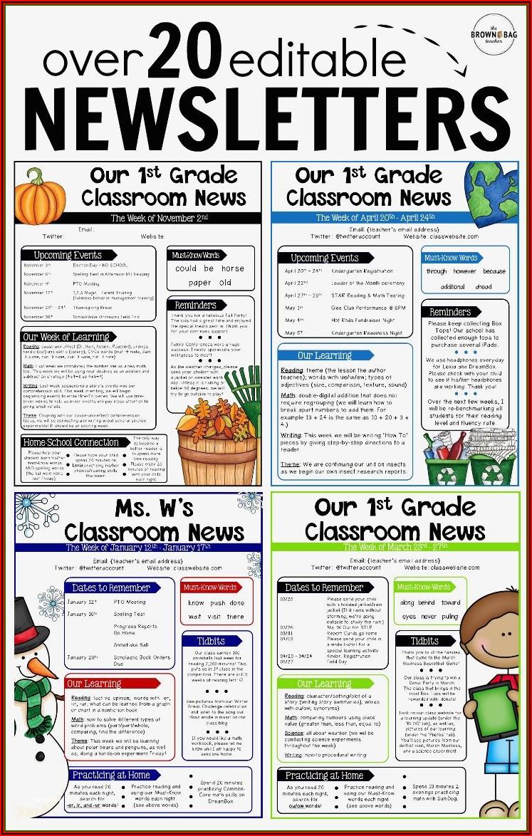 Elementary Classroom Newsletter Template