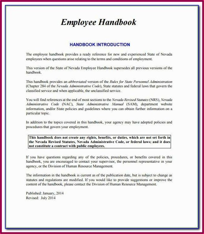 Employee Handbook Template Uk