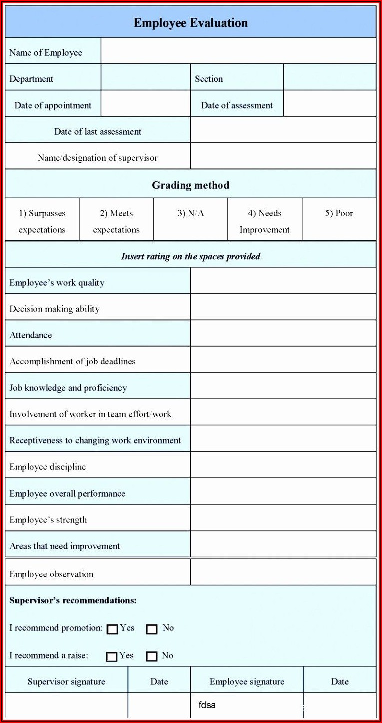 Employee Performance Evaluation Template Excel
