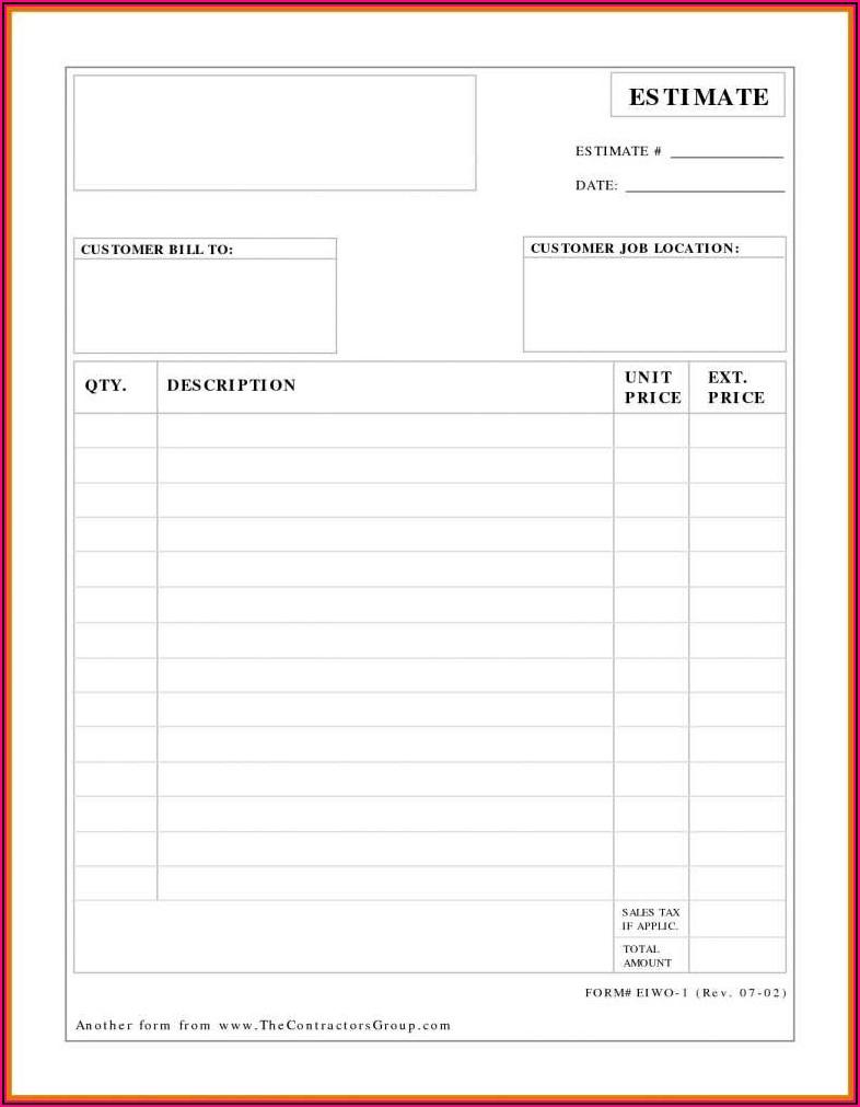 Estimate Invoice Template Download