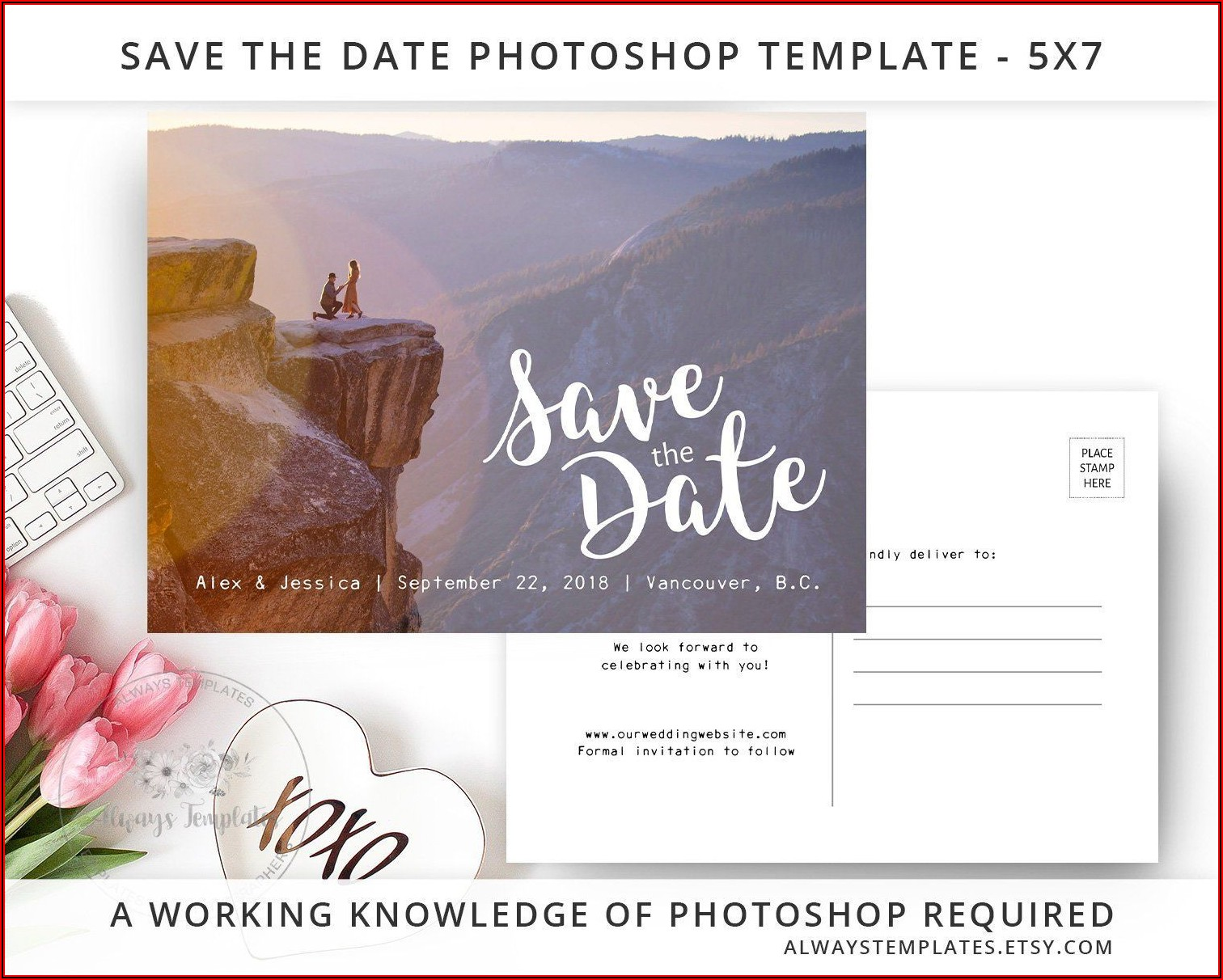 Etsy Save The Date Postcard Template