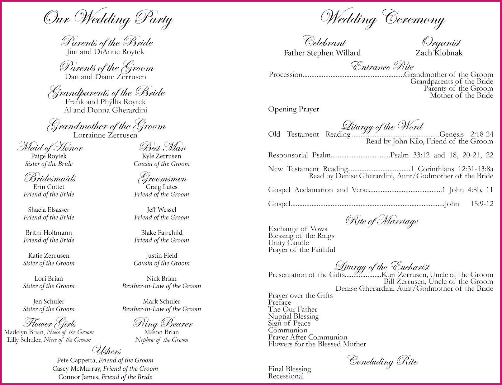 Examples Of Wedding Program Templates