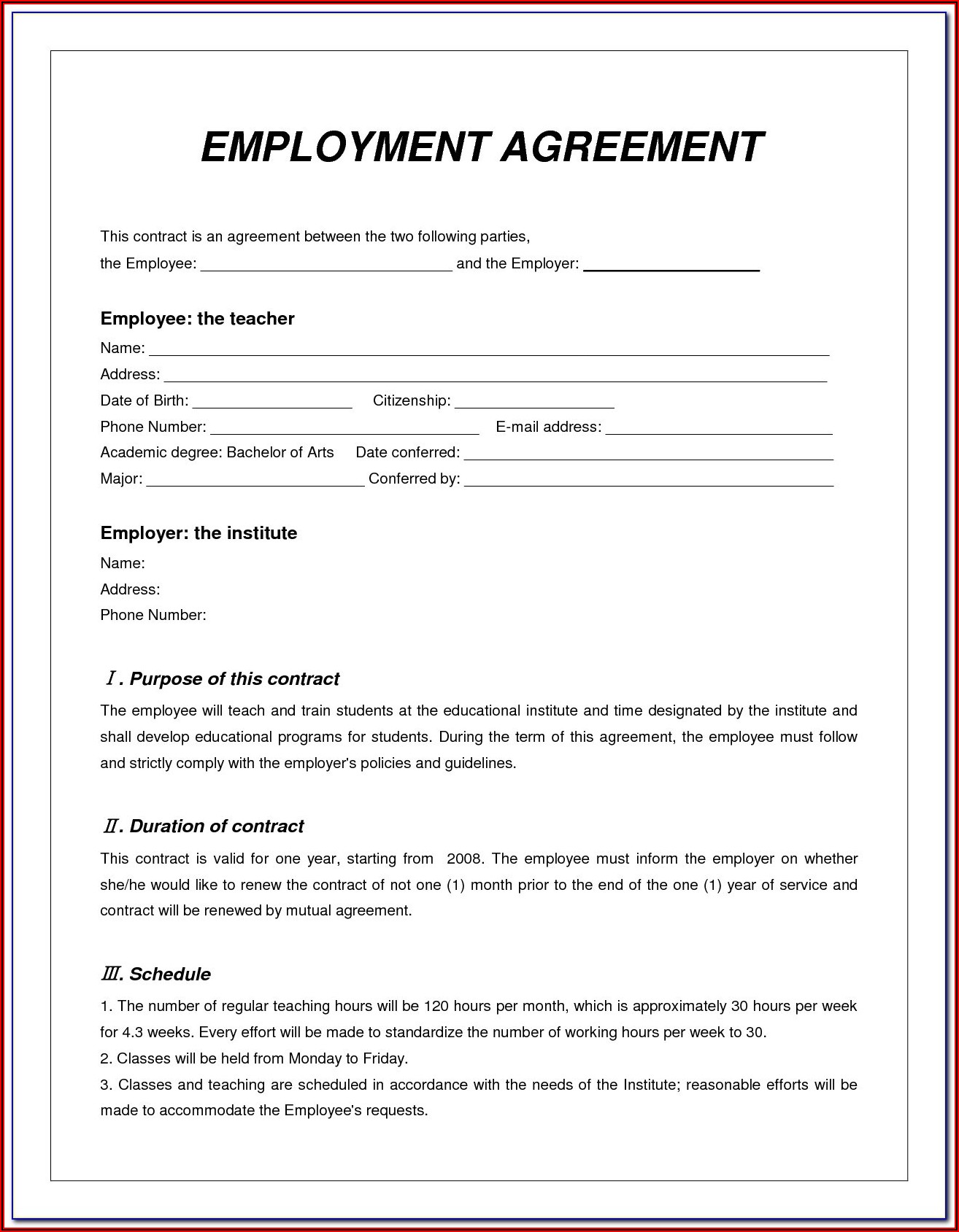 Expatriate Contract Of Employment Template Malaysia