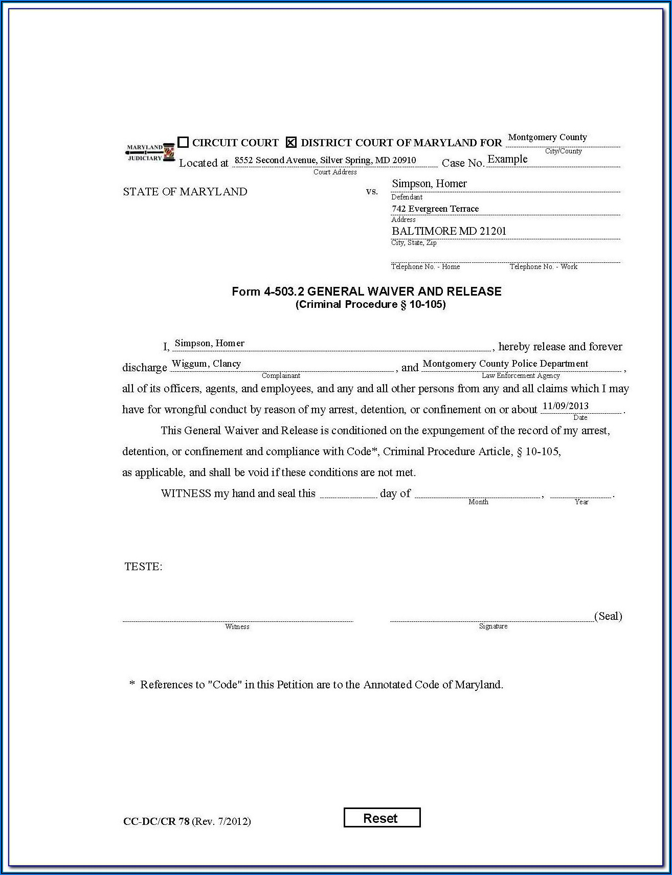Expungement Forms California