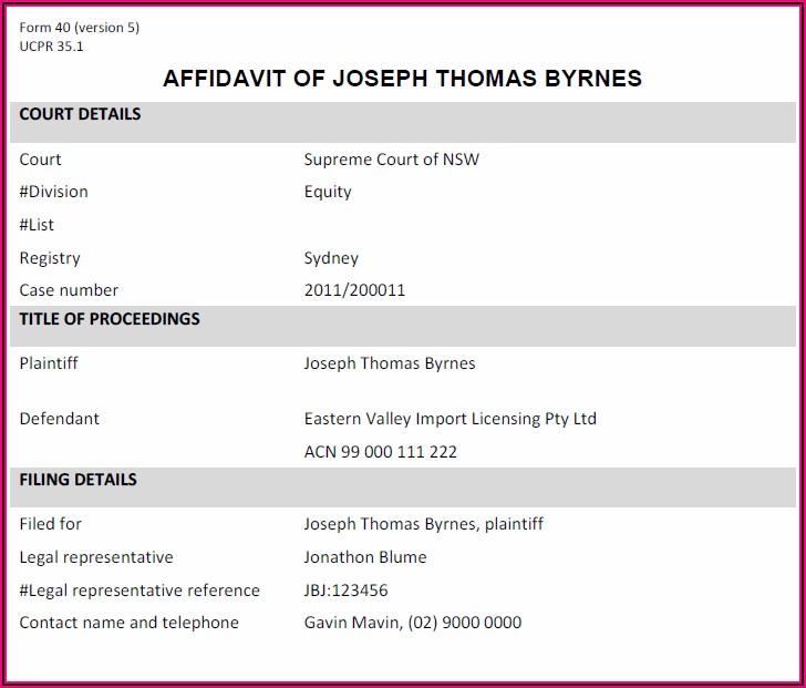 Family Law Affidavit Template