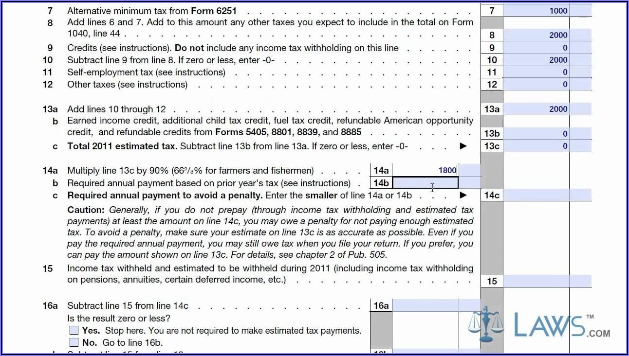 Federal Tax Form 1040es