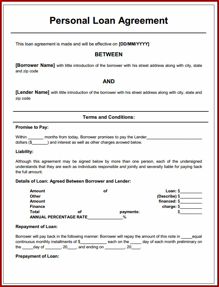 Fill In The Blank Loan Agreement Template