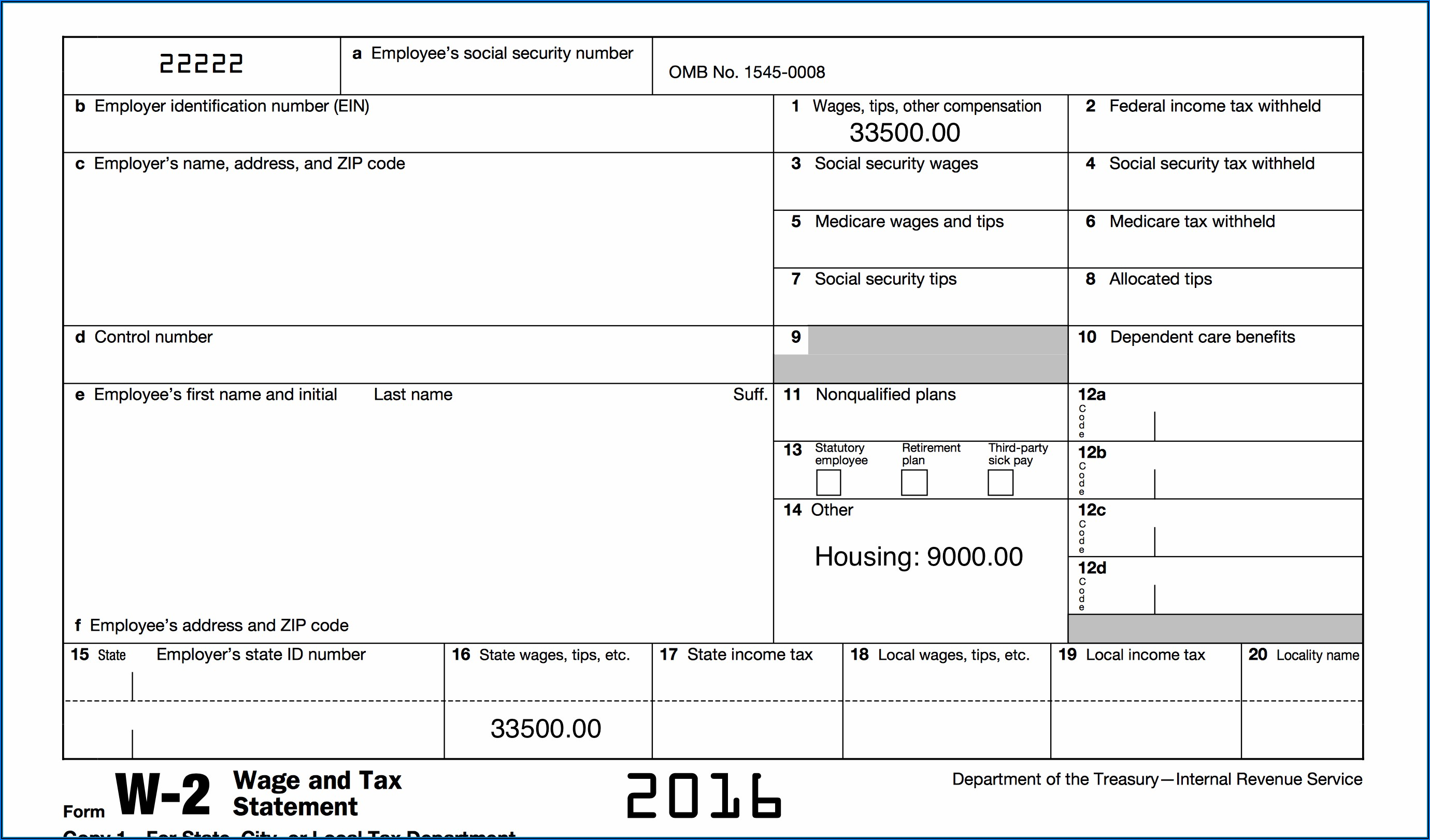 Fillable W 2 Form 2019