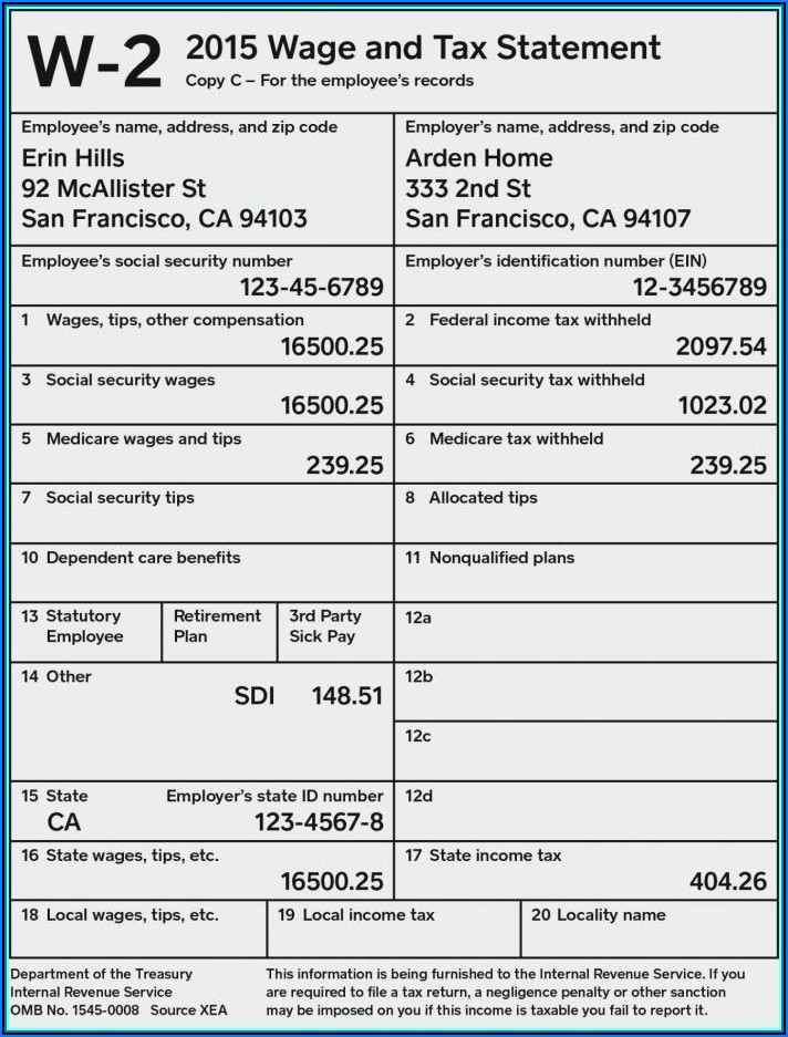 Fillable W 2 Form 2020