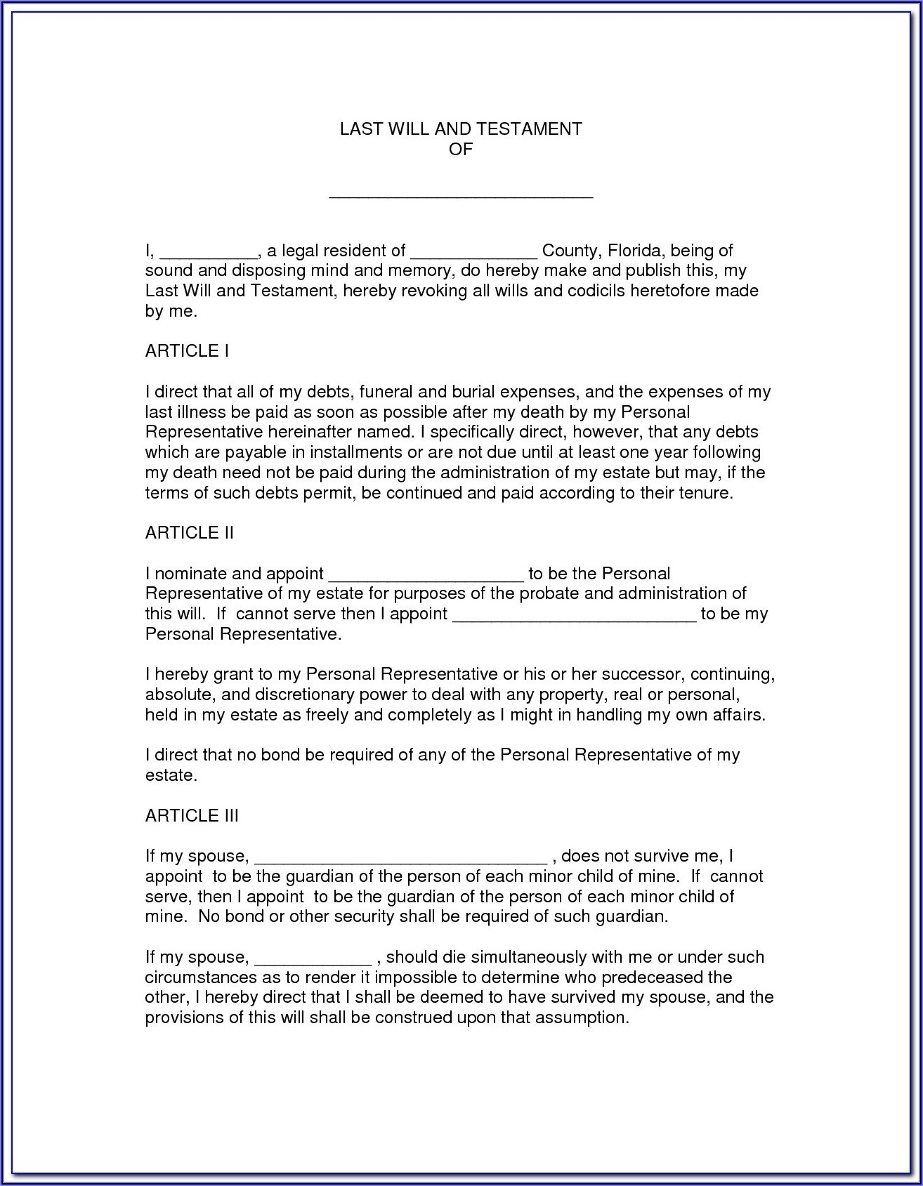Florida Bar Last Will And Testament Form