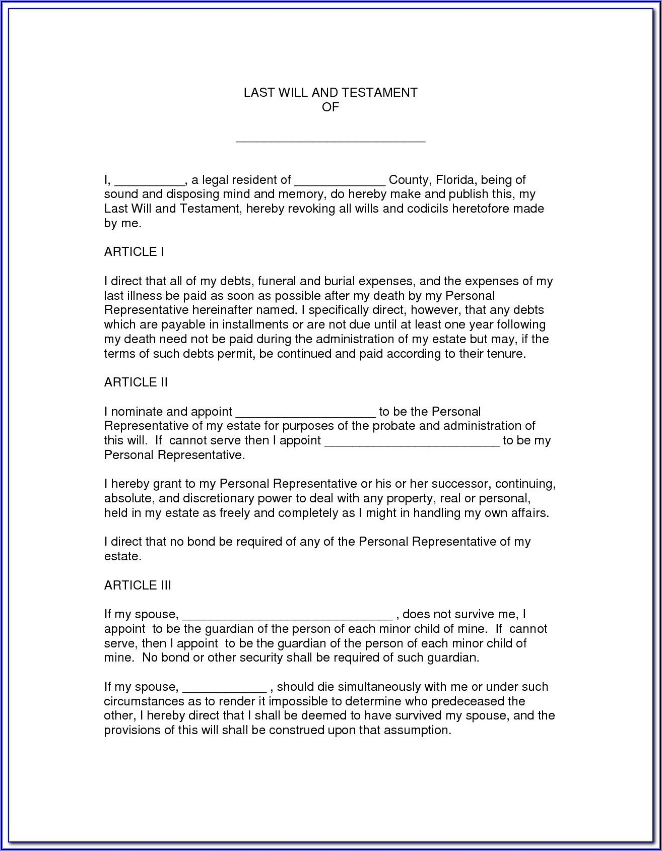 Florida Last Will And Testament Forms