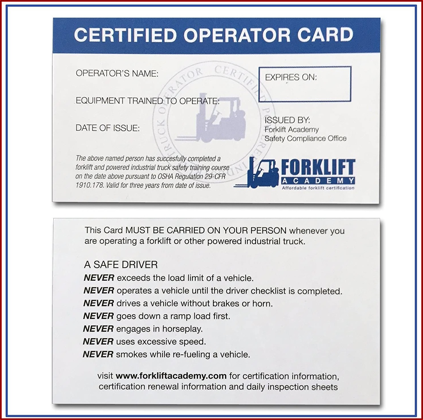 Fork Truck License Template