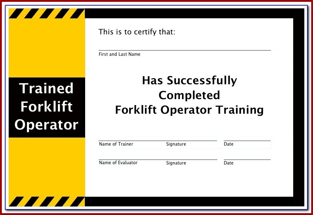 Forklift License Template Excel