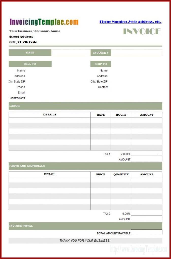 Free Auto Parts Invoice Template