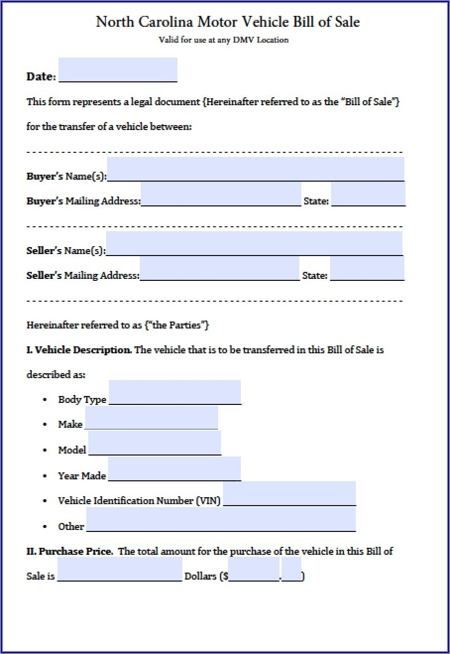 Free Bill Of Sale Form For Car Nc