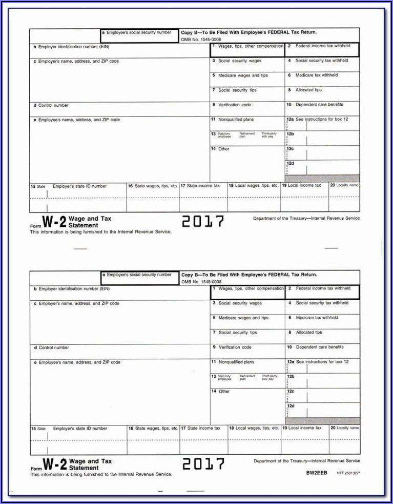 Free Blank 2015 W2 Forms