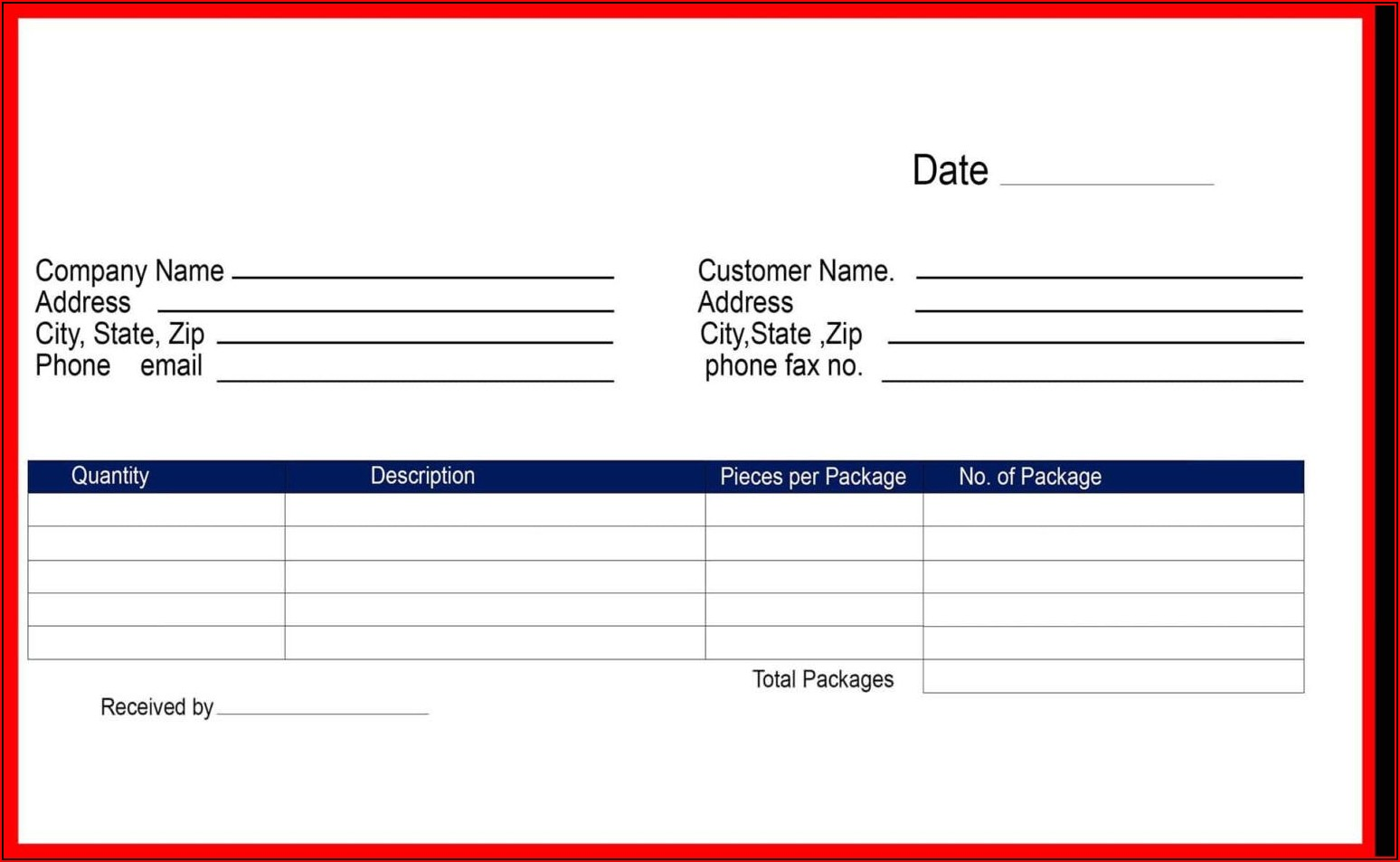 Free Blank Receipt Template Word