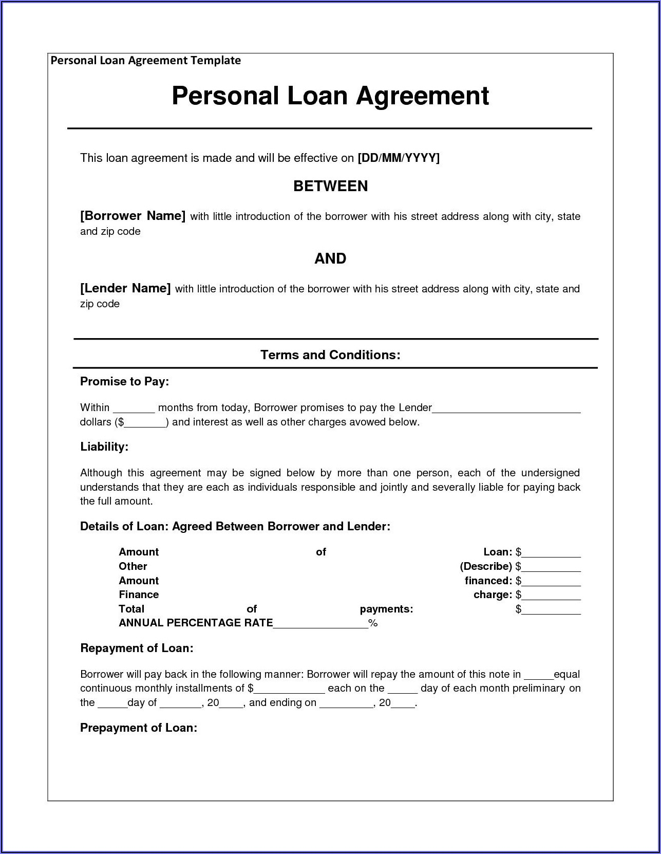 Free Car Loan Agreement Form