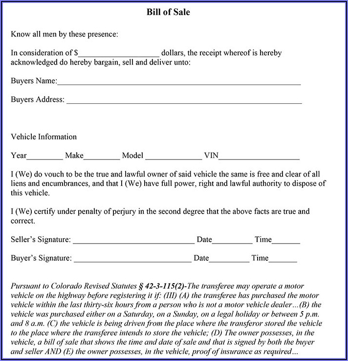 Free Colorado Motor Vehicle Bill Of Sale Form