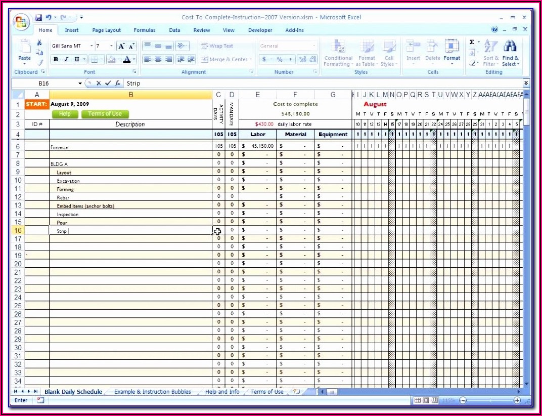 Free Construction Project Schedule Template Excel