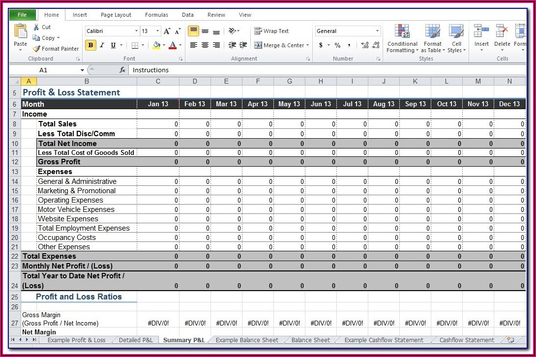 Free Download Profit And Loss Account Format Excel
