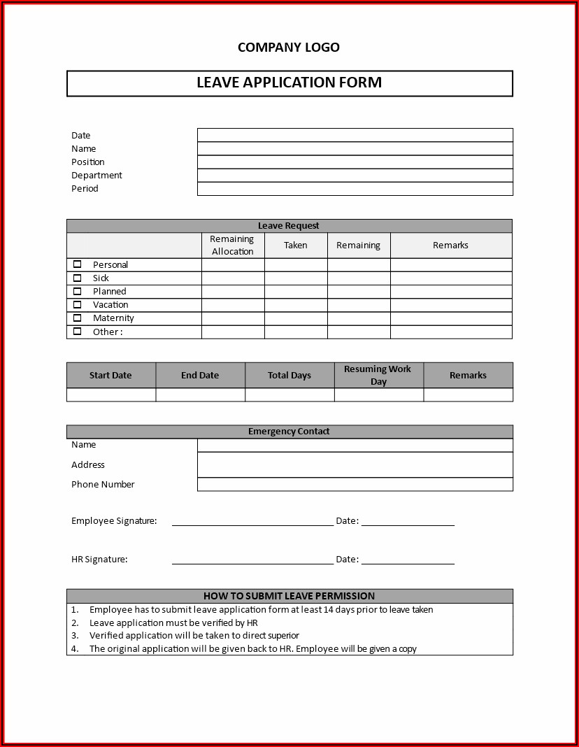 Free Employee Leave Request Form Template