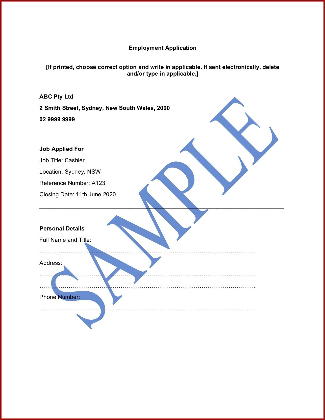 Free Employment Application Form Template