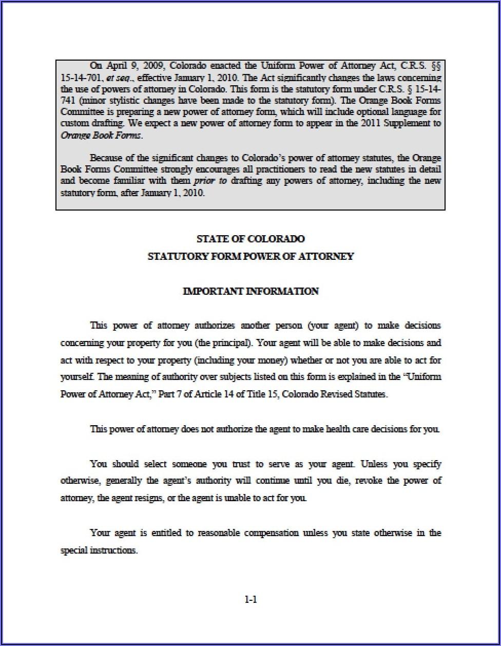 Free Financial Power Of Attorney Form Colorado