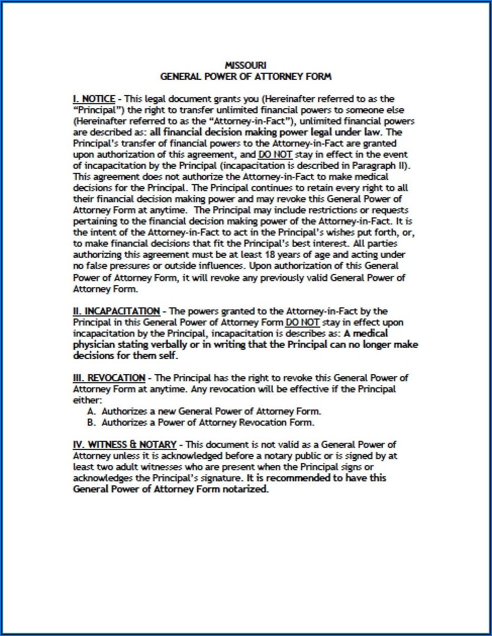 Free General Power Of Attorney Form Missouri