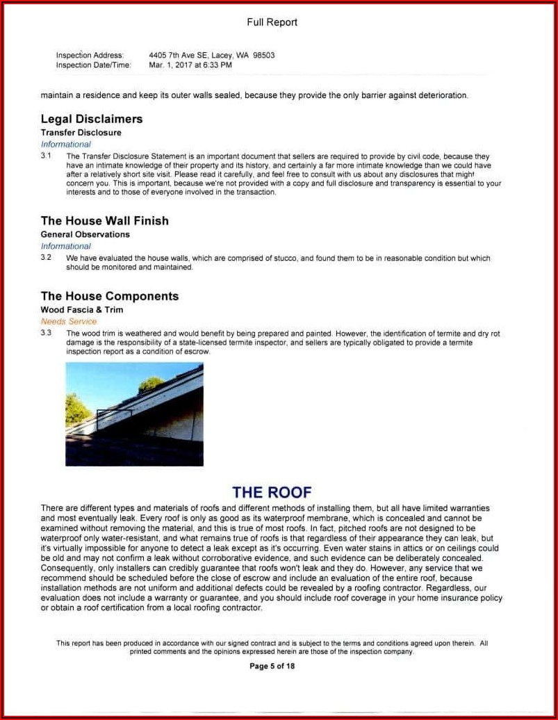 Free Home Inspection Report Form Pdf