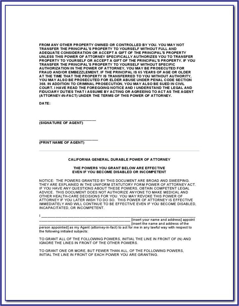 Free Medical Power Of Attorney Form Colorado
