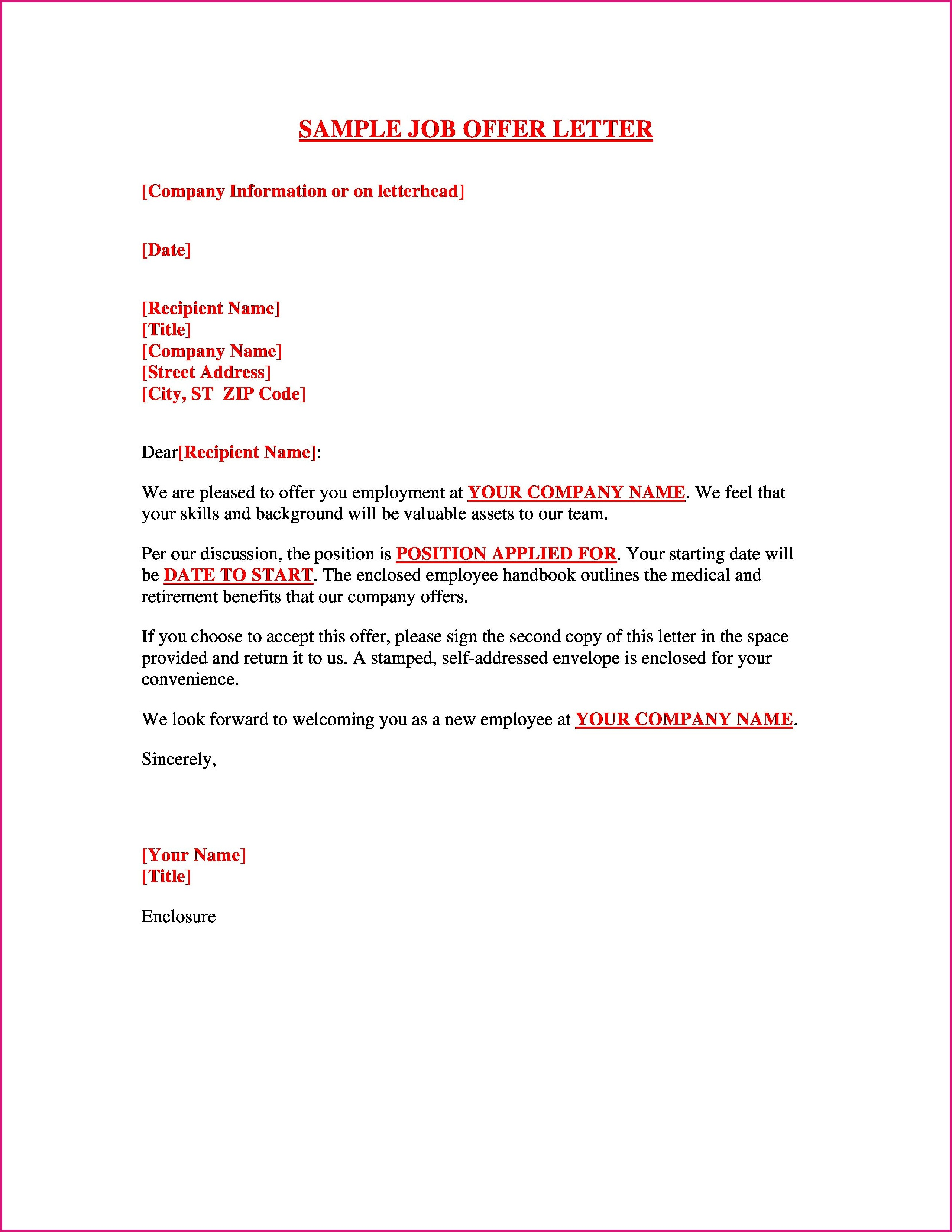 Free Offer Letter Template