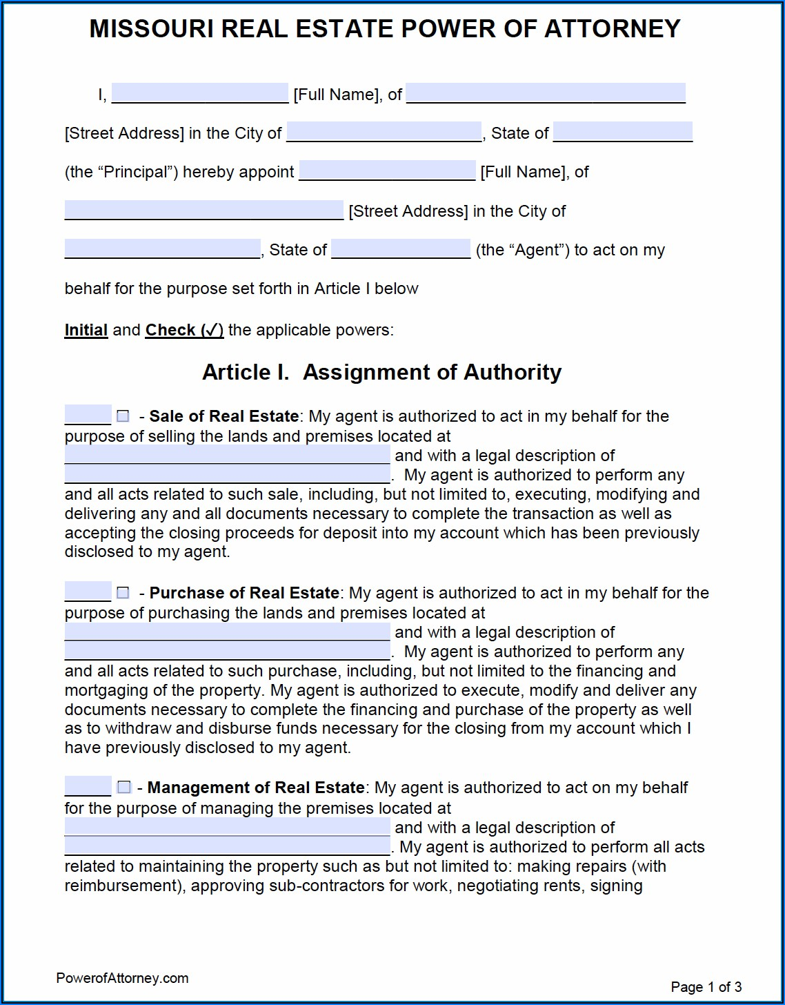 Free Power Of Attorney Form For Missouri