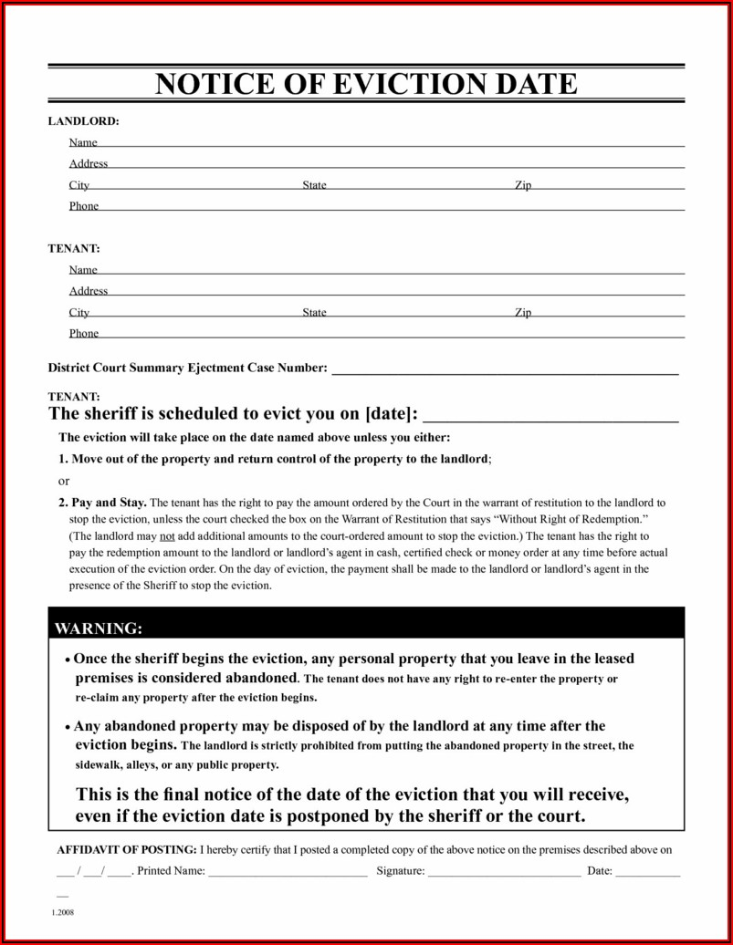 Free Printable 3 Day Eviction Notice Template