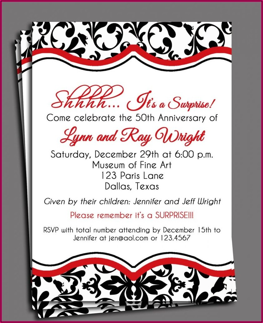 Free Printable 40th Wedding Anniversary Invitation Templates