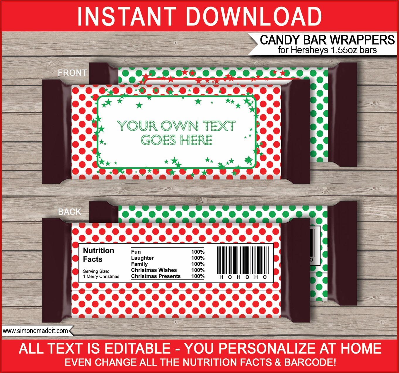 Free Printable Christmas Chocolate Bar Wrappers Templates