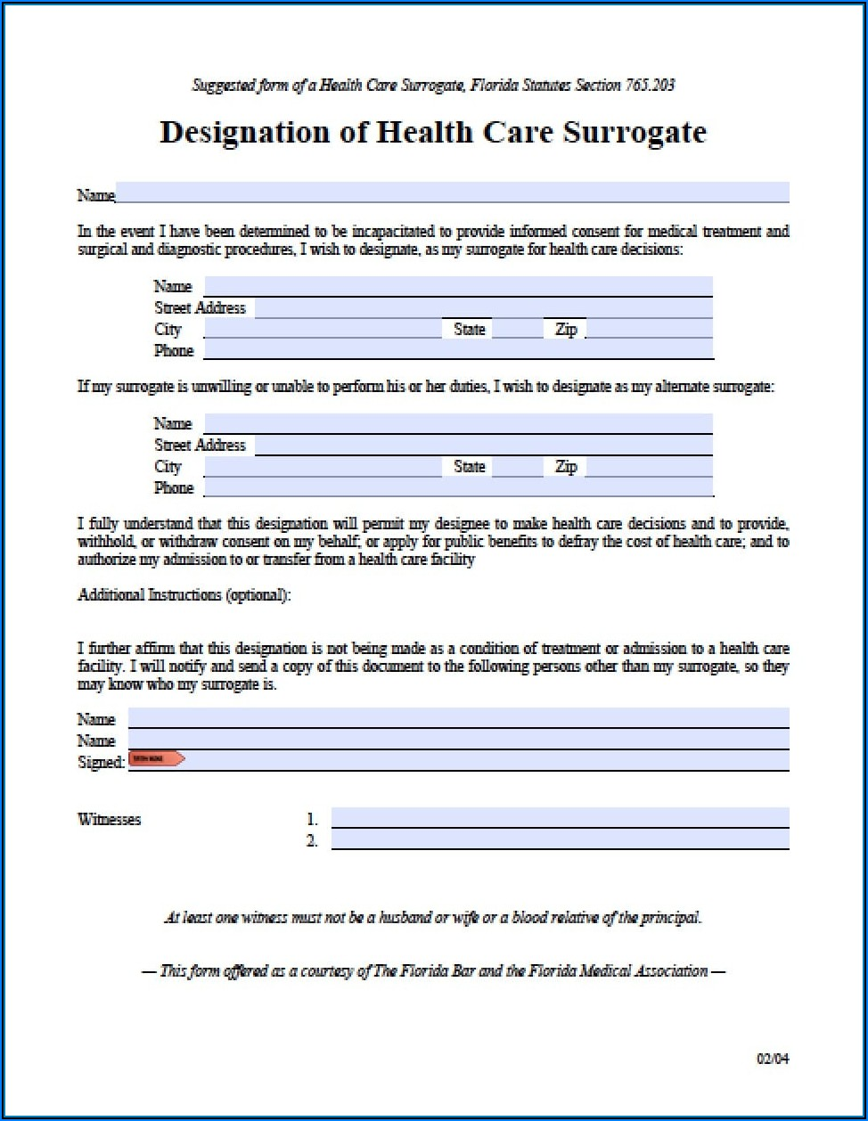 Free Printable Medical Power Of Attorney Form Florida