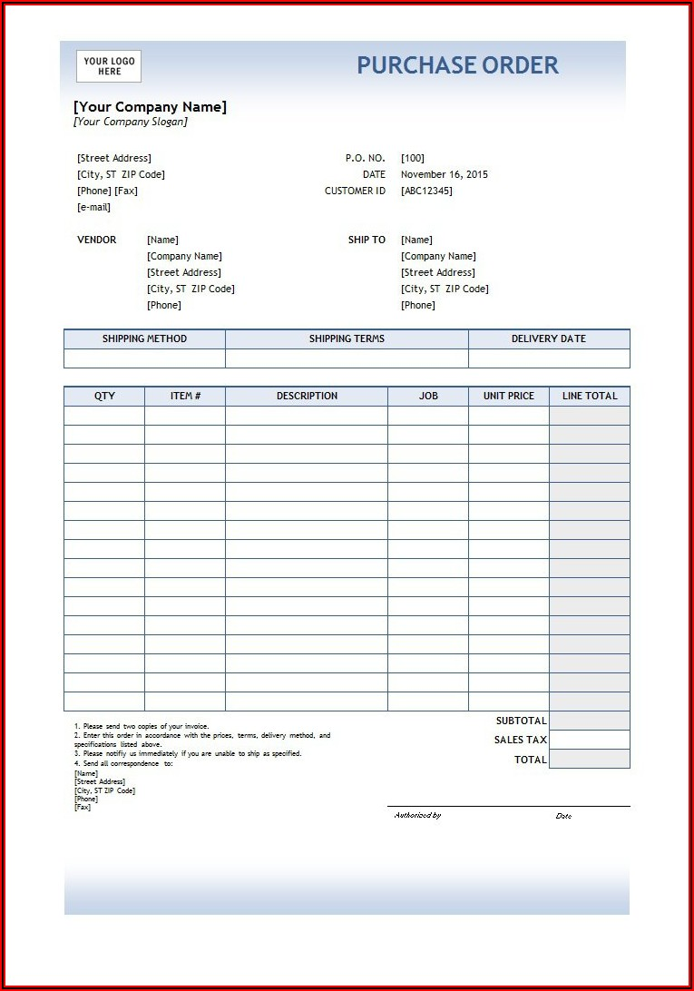 Free Printable Pdf Purchase Order Template