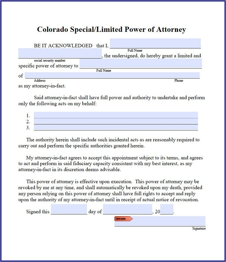 Free Printable Power Of Attorney Form For Colorado